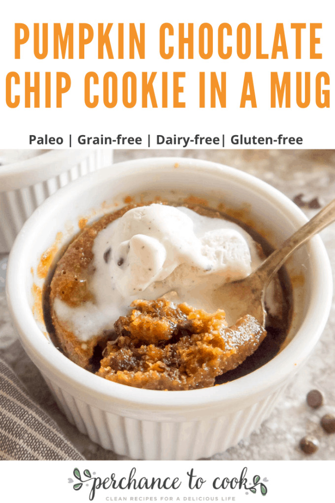 An easy, quick and delicious pumpkin chocolate chip cookie in a mug dessert recipe that is naturally dairy-free, Gluten-free, and Paleo.