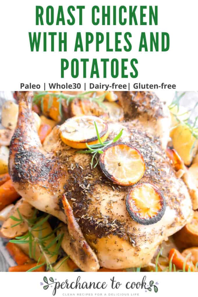 A juicy and flavorful roasted chicken cooked with apples, sweet potatoes, potatoes, and carrots. The perfect homemade meal!