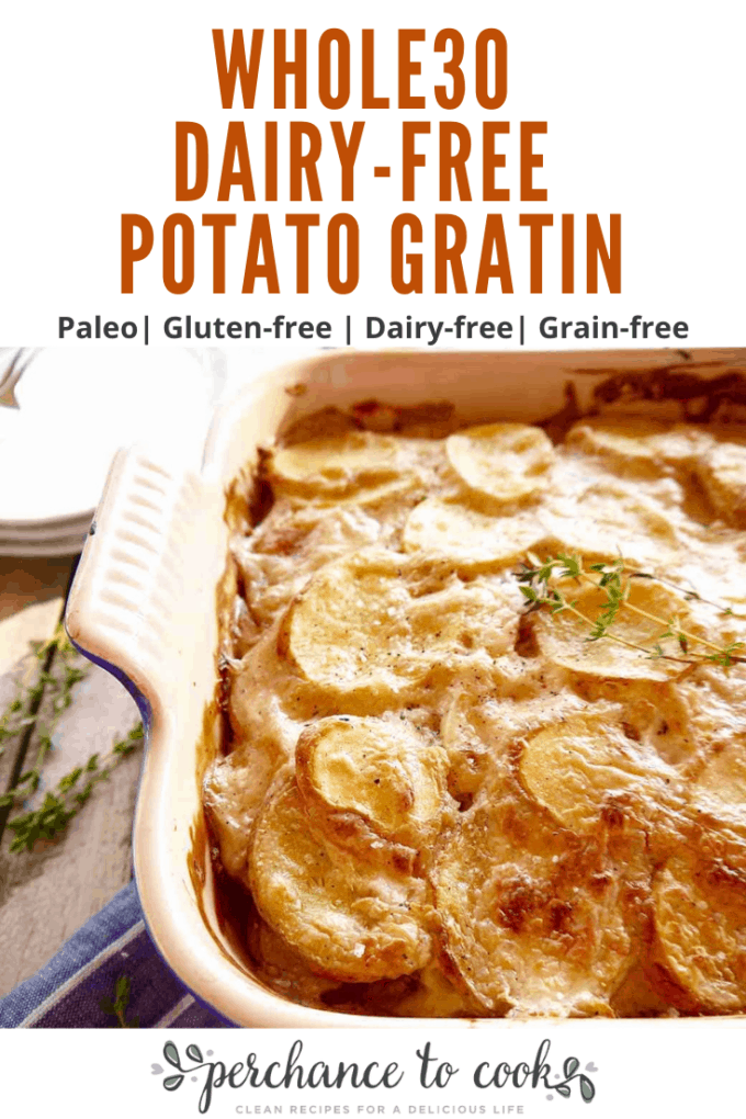 a delicious dish made of thinly sliced potatoes that soak up an amazingly rich creamy dairy-free (and nut-free!) sauce seasoned with garlic, shallots, thyme, and nutmeg.