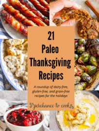 A list of dairy-free, gluten-free, grain-free, and Paleo recipes that would be perfect for Thanksgiving! Includes appetizer, side-dish, main course and dessert ideas!