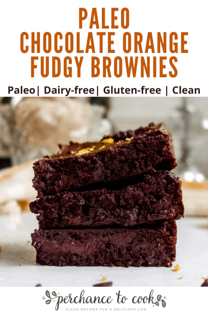 A paleo, dairy-free, gluten-free, grain-free fudgy brownie recipe full of festive orange zest and rich chocolate flavors.