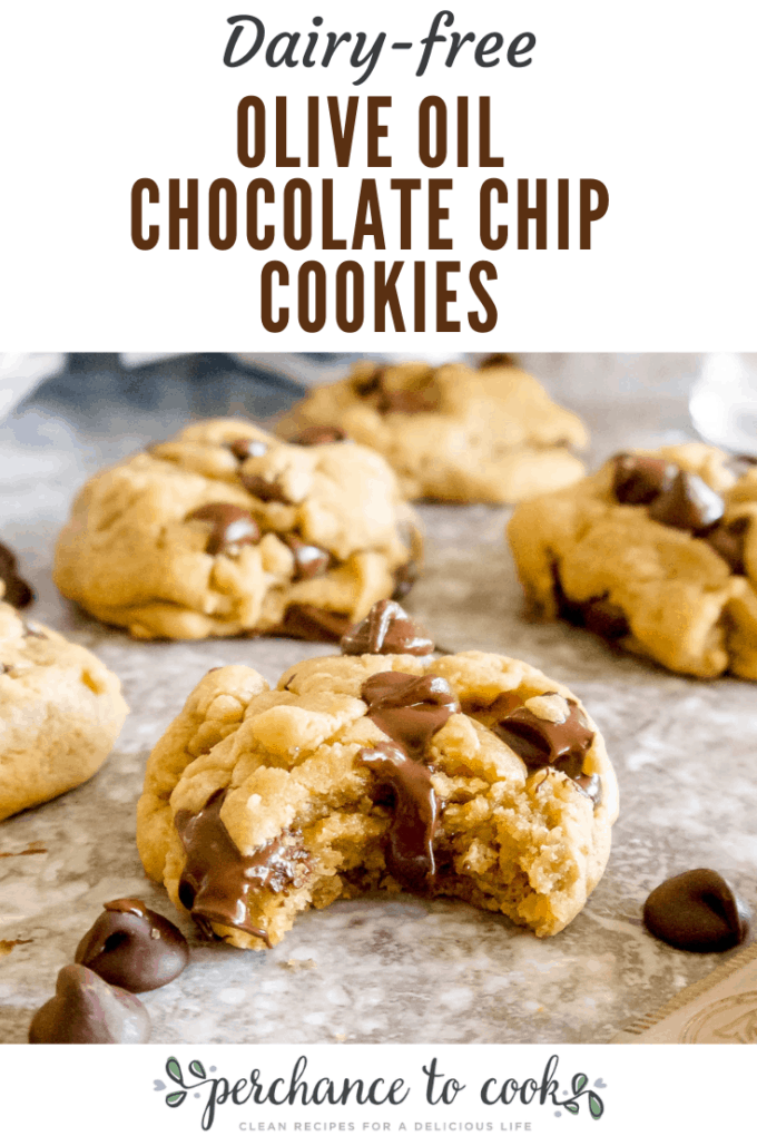 Chewy, soft, melt-in-your mouth dairy-free chocolate chip cookies made with olive oil.