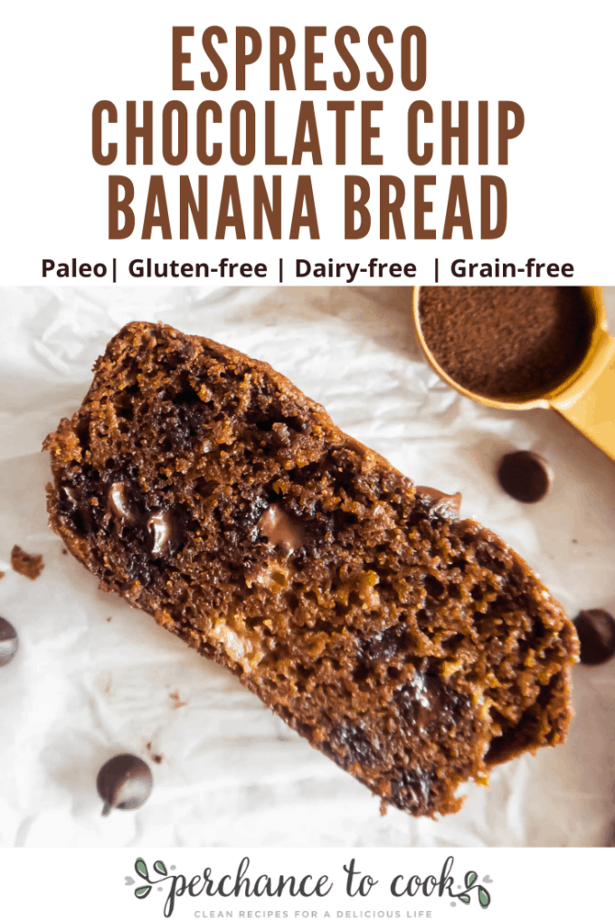 A decadent and moist banana bread laced with espresso and chocolate flavors and made with healthier-for-you ingredients like almond flour and coconut sugar.