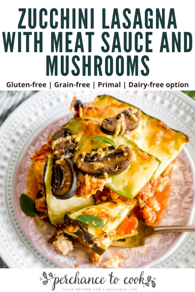 Zucchini Lasagna with Meat Sauce and Mushrooms recipe. Layers of beautifully seasoned meat sauce, sliced zucchini, melted goat cheese, and sautéed mushrooms. It's healthy lasagna heaven!