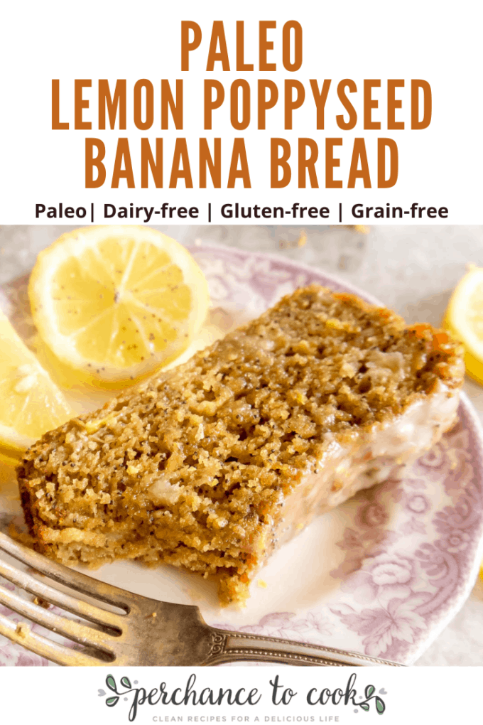 A delicious grain-free, dairy-free, gluten-free, and Paleo banana bread  seasoned with lemon juice, lemon zest, and poppyseeds and slathered in a lemon glaze. Made with almond flour, coconut flour, and tapioca flour.