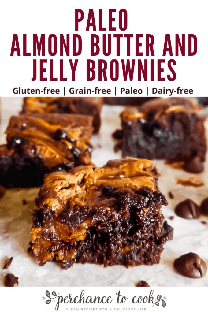 A delicious dairy-free and gluten-free rich brownie recipe topped with swirls of almond butter and jelly.