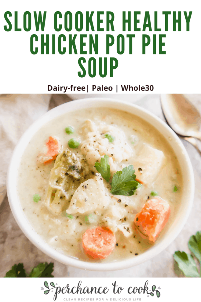 A creamy dairy-free soup that tastes like the inside of chicken pot pie! It is full of potatoes, carrots, peas, cauliflower, chicken, and the most delicious coconut cream sauce. It is also made in the slow cooker, which makes things so much easier!