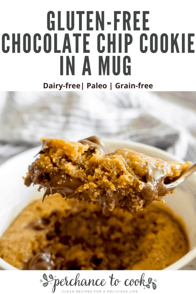 The ultimate single serving healthy cookie in a mug that tastes like an ooey-gooey chocolate chip cookie and cooks in 40 seconds in the microwave! Naturally Dairy-free, Gluten-free, Grain-free, and Paleo.