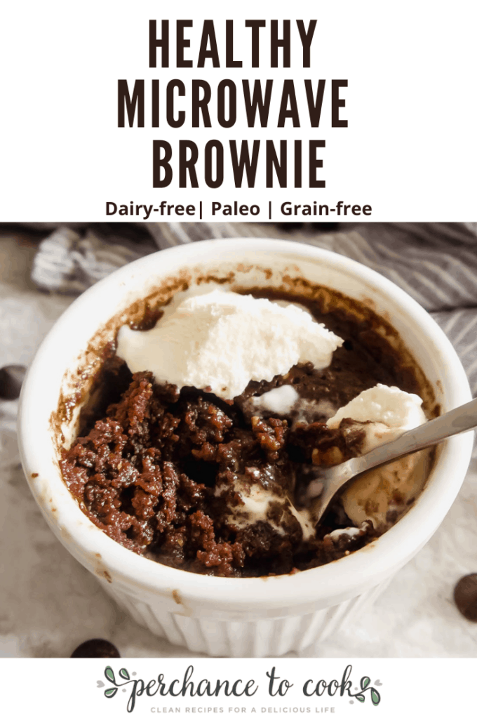 A single serving yummy brownie recipe, made with healthier-for-you ingredients, that cooks in 45 seconds in the microwave! Naturally Dairy-free, Gluten-free, Grain-free, and Paleo