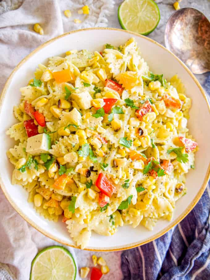 Dairy-free Mexican Street Corn Pasta Salad | Perchance to Cook, www.perchancetocook.com