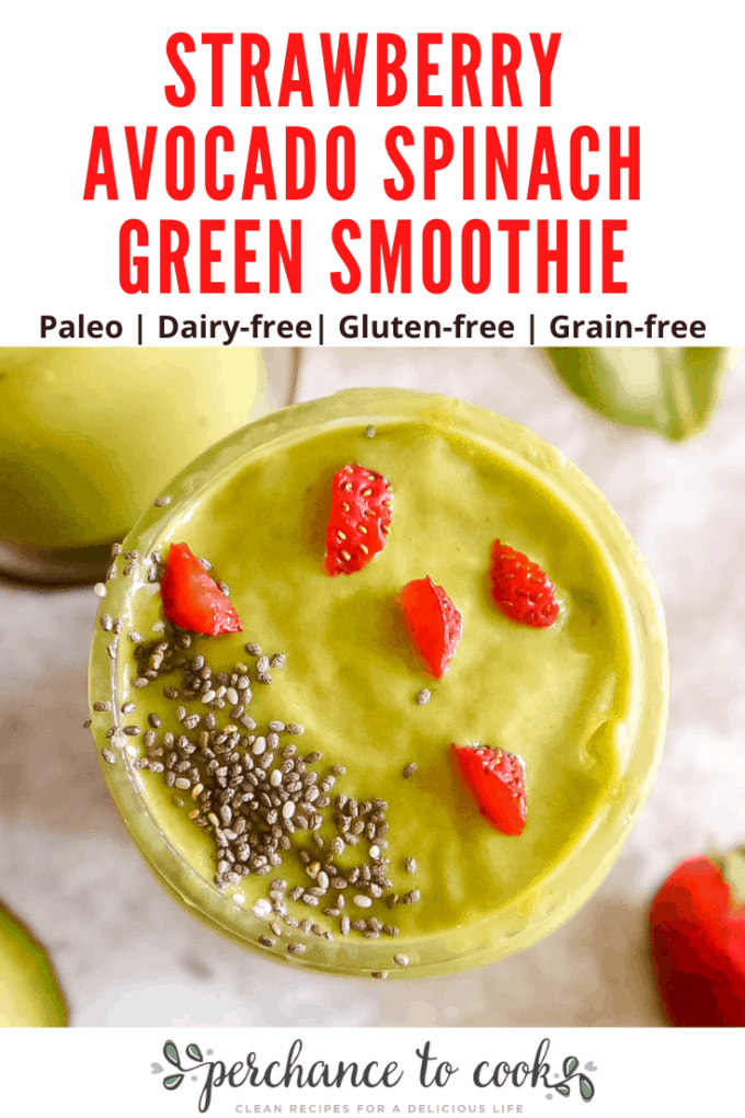 A delicious and nutritious dairy-free green smoothie made with strawberry, avocado, spinach, pineapple, almond milk and honey.