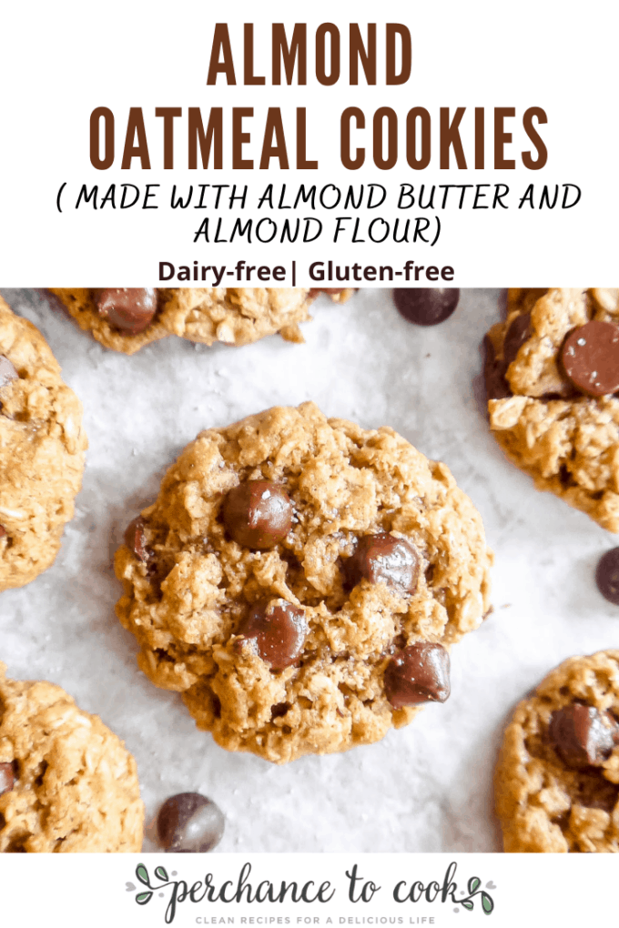 Almond Oatmeal Cookies recipe. A delicious dairy-free and gluten-free oatmeal chocolate chip cookie recipe made with almond butter, almond flour, and olive oil. They are both crisp yet chewy!