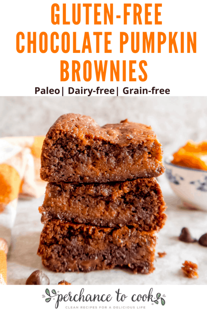 Gluten-free Chocolate Pumpkin Brownies recipe. A delicious gooey Paleo chocolate pumpkin brownies recipe made with healthy ingredients like almond flour, olive oil, pumpkin puree and Fall spices. They taste like chocolate pumpkin pie!