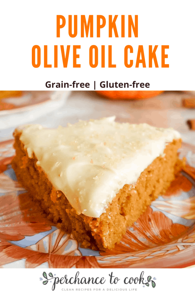 This Pumpkin Olive Oil Cake is a moist almond flour pumpkin cake that is made with olive oil and pumpkin spice. It is frosted with a delicious cream cheese frosting.